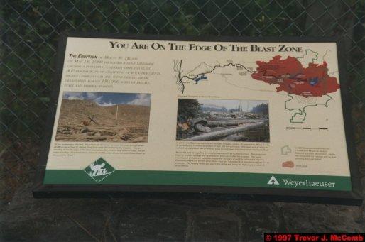 U.S.A.~Canada 922 ~ Washington 32 ~ Mount St. Helens 09 ~ Blast Zone Sign