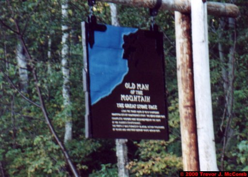 Canada~U.S.A. 283 ~ New Hampshire 106 ~ Franconia Notch 12 ~ Old Man Of The Mountain 6 ~ Sign