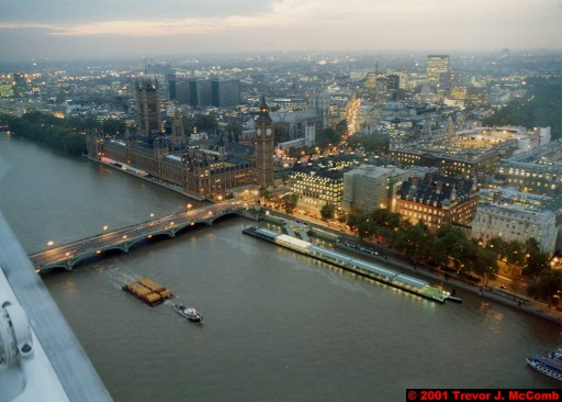 U. K. 20 ~ London 20 ~ From the London Eye 02 ~ River Thames 10 ~ Palace of Westminster 04 ~ St. Stephen's Clock Tower (Big Ben) 02