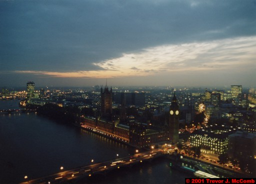 U. K. 26 ~ London 26 ~ From the London Eye 08 ~ River Thames 16 ~ Palace of Westminster 05 ~ St. Stephen's Clock Tower (Big Ben) 03