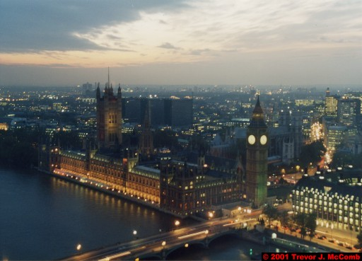 U. K. 27 ~ London 27 ~ From the London Eye 09 ~ River Thames 17 ~ Palace of Westminster 06 ~ St. Stephen's Clock Tower (Big Ben) 04