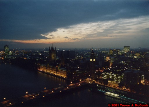 U. K. 28 ~ London 28 ~ From the London Eye 10 ~ River Thames 18 ~ Palace of Westminster 07 ~ St. Stephen's Clock Tower (Big Ben) 05