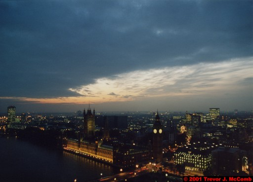 U. K. 29 ~ London 29 ~ From the London Eye 11 ~ River Thames 19 ~ Palace of Westminster 08 ~ St. Stephen's Clock Tower (Big Ben) 06