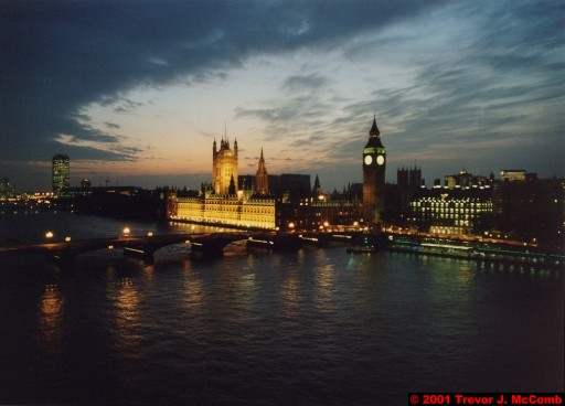 U. K. 34 ~ London 34 ~ From the London Eye 16 ~ River Thames 22 ~ Palace of Westminster 11 ~ St. Stephen's Clock Tower (Big Ben) 09